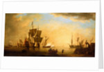 An English flagship and other vessels becalmed at sun down by Peter Monamy