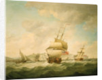 A merchantman and a royal yacht beating to qindward off Dover by Charles Brooking