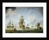 Shipping becalmed in the Solent by Charles Brooking