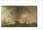 East Indiamen driven ashore in a storm by Charles Brooking