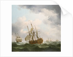 East Indiamen in a gale by Charles Brooking