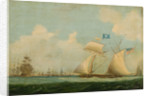 An American privateer schooner and other vessels near a harbour by Burton