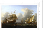 Dutch shipping with a flagship and a states yacht by William Anderson