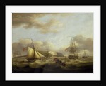 A cutter passing astern of a frigate by Thomas Luny