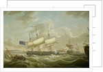 A frigate coming to anchor in the Mersey by Robert Salmon