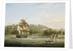 A frigate and other vessels in Barn Pool off Plymouth by Thomas Lyde Hornbrook