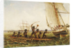 Aboriginal canoes communicating with Monarch and the Tom Tough, 28 August 1855 by John Thomas Baines