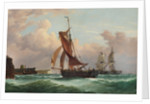 A fishing smack running into Newhaven by Richard Henry Nibbs