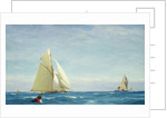 A large sloop yacht and a barge by John Fraser