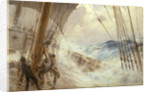 Clewing up the mainsail in heavy weather by Arthur John Trevor Briscoe