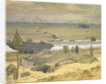 View of Courseulles with DUKWs landing stores by Stephen Bone