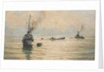 Picking up survivors from a sinking U-boat by Rowland John Robb Langmaid