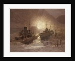 HMS 'Cossack' and the store ship 'Altmark', 16 February 1940 by Norman Wilkinson
