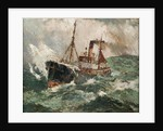 Gale force 8: trawler in a rough sea by Harry Hudson Rodmell