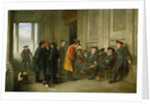 Pensioners outside the chapel at Greenwich ('An Old Tar doing Penance for his devotion to Jolly Bacchus') by Henry James Pidding