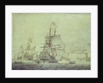 Dutch and English ships arriving at Naples by Cornelis Bouwmeester
