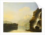 Waterfall in Dusky Bay with a Maori canoe by William Hodges