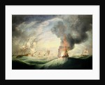 Loss of HMS 'Ramillies', September 1782: blowing up the wreck by Robert Dodd
