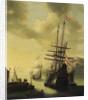 Dutch men-of-war in harbour by J. Browne