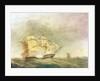 HMS 'Pique' carrying away her rudder by John Christian Schetky
