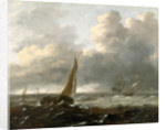 Shipping in a stormy sea by Gerrit Battem