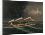 The coolie ships 'Mersey' (1894) and 'Volga II' (1892) in a gale by Chinese School