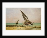 Beached fishing boats at low tide, Villerville by Edmond Yon