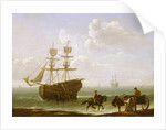 A beached Collier Unloading into Carts by Julius Caesar Ibbetson