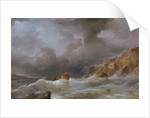 Wreck of a ship off a rocky coast by Samuel Walters