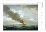The Luxborough galley burnt nearly to the water, 25 June 1727 by John Cleveley