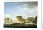 The yawl of the Luxborough galley arriving in Newfoundland, 7 July 1727 by John Cleveley