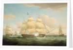 The East Indiamen 'Minerva', 'Scaleby Castle' and 'Charles Grant' by Thomas Whitcombe
