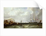 The Blackwall frigate 'Owen Glendower' at anchor off a coastline by G. W. Butland