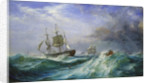 Man overboard: Rescue launch from HMS 'St Jean d'Acre' by Oswald Walter Brierly