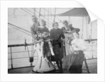 Group portrait including Mr Hill of the Seamen's Institution on deck, at Iquique, Chile by unknown