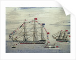 A warship at anchor by Charles Weeden