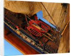 Ship of 38 guns, deck detail with ship's boats by unknown