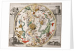 Part of a southern hemisphere star chart from Reiner Ottens's Atlas Maior (1730), with the Greenwich Observatory (left) and the Round Tower observatory in Copenhagen (right) by Reiner Otten