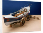 Full hull model, self-righting lifeboat with launching carriage by unknown