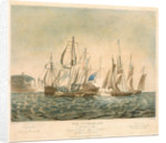 The Cumberland Merchant Ship engaging 4 French Lugger Privateers off Folkestone, on 13th Jany 1811 by George Ballisat
