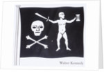 The Jolly Roger of Walter Kennedy (died 19 July 1721), Irish pirate who served under Howell Davis and Bartholomew Roberts, featuring skull and crossbones, sword and sailor on the flag by unknown