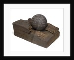 40 pound cannonball in piece of timber from the 'Victory' by unknown