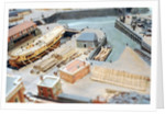 Topographic model, Royal Dockyards at Sheerness, detail showing HMS 'Squirrel' in dry dock by George Stockwell