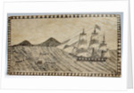 Scrimshaw wall picture, bone panel of whaling scene. by unknown