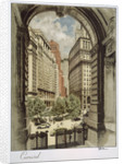 Front cover of Cunard menu featuring archway by unknown
