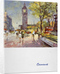 Front cover of Cunard menu featuring Big Ben and a red London bus by unknown