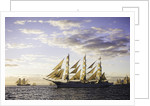 Russian full-rigged ship 'Mir' underway at sunset, Bergen to Den Helder Tall Ships Race 2008 by Richard Sibley