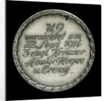 Medal commemorating the destruction of the English armoured cruisers 'Aboukir', 'Hogue' and 'Cressy' by 'U9', 1914; obverse by F. H.