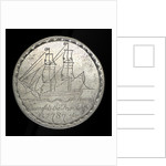 Engraved commemorative coin depicting convict ship 'Friendship'; obverse by unknown