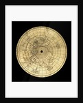 Astrolabe: geographical plate by Jean Naze